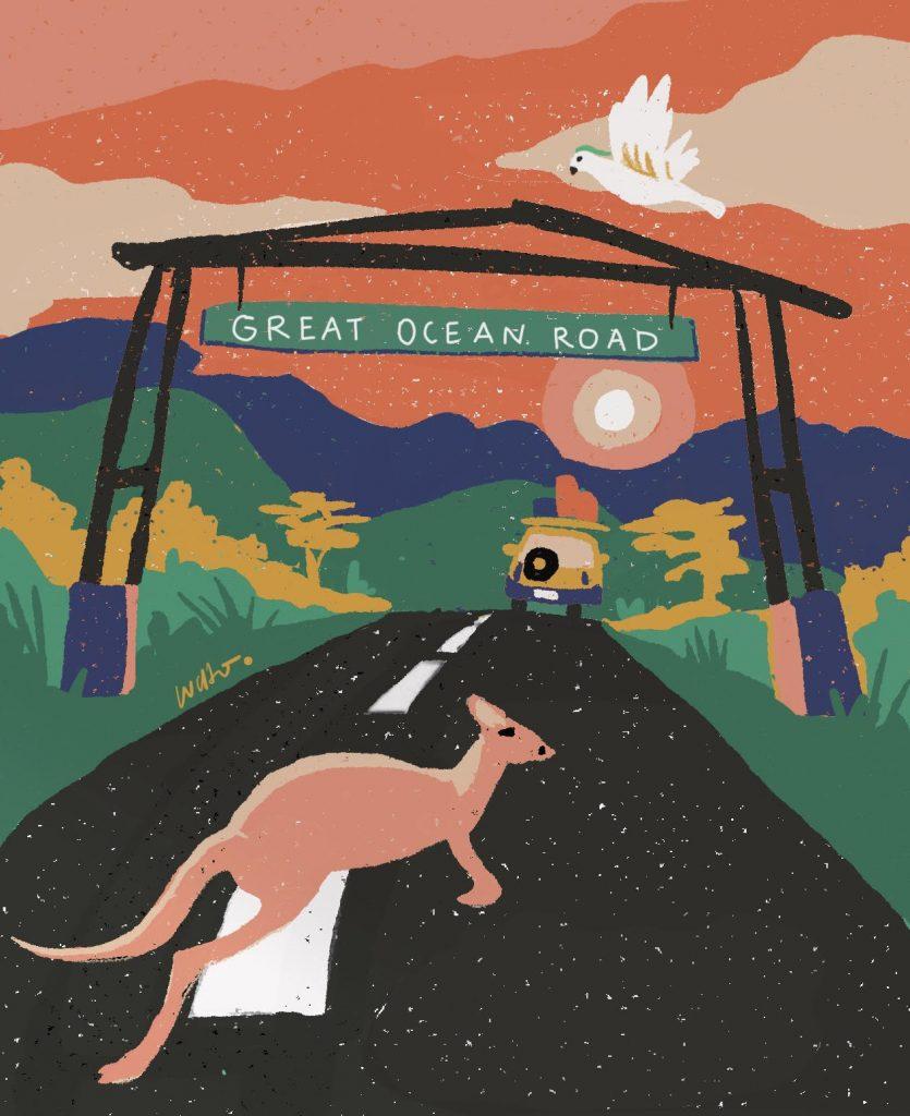 ilustración great ocean road por @donluchoart